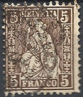 Svizzera, 1862 Helvetia, 5c Brown, White Paper Wmk Cross In Oval # Michel 22 - Scott 43 - Uni 35  USED - Oblitérés