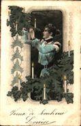 Bonne Année 778femme Sapin Bougies Allumées - Anno Nuovo