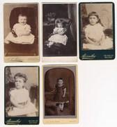 5 CDV Portraits Of Children, Girls ± 1880's - Old (before 1900)