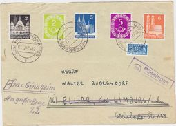 """GERMANY 1951 (1.12.) COVER SUB-P.O. """"Rüssingen"""" KIRCHHEIMBOLADEN MIXED FRANKING (resent) - Allemagne"""