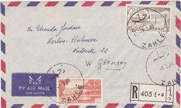 """FRANCE LEBANON 1960 (1.3.) REG.AIRMAIL COVER POSTMARK """"Zahle"""" TO GERMANY - Otros"""