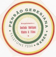 PORTUGAL - HOTEL LUGAGGE LABEL - PENSÃO GERESIANA - GERÊS - Etiketten Van Hotels