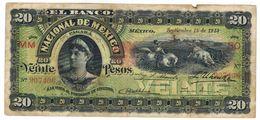 Mexico , Banco  Nacional. 20 Pesos 1913, VF. Rare. - Mexico