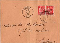 ! 1940 Brief Deutsche Besetzung 2. Weltkrieg, Besetztes Gebiet Nordfrankreich, Arneke, France 1940 Guerre Yv No 3 Lettre - Kriegsausgaben