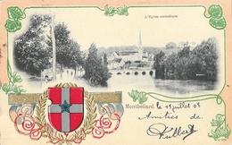 Montbéliard - L'Eglise Catholique - Belle Carte Gaufrée Dos Simple, Ecusson, Blason De La Ville - Montbéliard