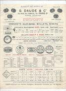Publicité, 4 Pages , G. DAUDE & Cie , Paris ,crochets, Oeillets, Rivets , 1937 , Frais Fr 1.75e - Advertising