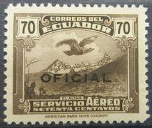 Ecuador 1937 MH Andean Condor Over El Altar Overprint OFICIAL With Gum - Ecuador