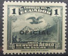 Ecuador 1937 MH Andean Condor Over El Altar 1 Sucre Overprint OFICIAL With Gum - Ecuador