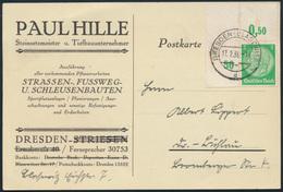 Dt. Reich Brief 515 P BE Ol Eckrand Bogenecke Dresden-Blasewitz Reklame Bauunter - Deutschland