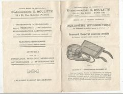 Publicité , établissements G. BOULITTE , Oscillomètre Sphygmométrique , Brassard Huméral , 12 Pages, Frais Fr 1.85e - Advertising