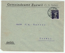 Suisse /Schweiz/Svizzera/Switzerland // 1907-1939 //  Lettre Au Départ De Zuzwil Le 30...... 1916 (No. 124) - Cartas
