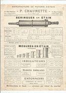 Publicité , P. CHAUMETTE , 1925 , Seringues , Mesures En étain , Douches, 2 Pages, 2 Scans , Frais Fr 1.45e - Advertising