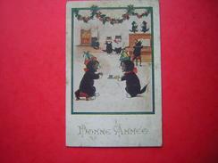 CPA ILLUSTRATION DE CHATS BONNE ANNEE  COMIQUE SERIES 4936 FLORENCE HOUSE LONDON  VOYAGEE 1925 TIMBRE - Nouvel An