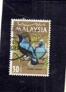 MALAYSIA MALESIA 1966 BIRD FAUNA AVICOLA Fairy Bluebird UCCELLO FATA AZZURRA SEN 30s USATO USED OBLITERE' - Malesia (1964-...)