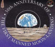 TUVALU 1999 30th Anniversary Moon Landing Space Astronomy Odd Shape Round Stamp Miniature Souvenir Sheet - United States