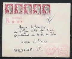 Lettre-0578 Bouches Du Rhone N°1263 Decaris Recommandé + Complémént Distributeur 1f30 Aix-en-Provence 1965 - Marcofilie (Brieven)