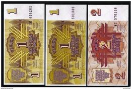 LETTONIA - 1991 - 3 Banconote Da 1 E 2 R. - FDS - Lotto N. 33 - Lettonia