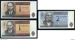 ESTONIA - 1991 - 3 Banconote Da 1 E 2 C. - FDS - Lotto N. 32 - Estonia