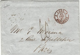 1847 -  Lettre De Londres  Pour Paris  Taxe 10 D   Entrée   ANGL. 2 BOULOGNE 2  Rouge - Marcophilie (Lettres)