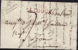 1823 Marque Chalabre Noire 10 Limoux Pour Lyon Taxe Manuscrite 7 Marque Bureau Entrepôt Distributionet Marque Direction - Marcophilie (Lettres)