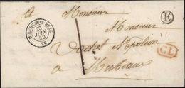 1850 CAD T15 MIREBAU S BEZE 20 Cote D'or 23 6 50 Lettre Locale Taxe Manuscrite 1 CL Rouge Boite Rurale E Reneve - Postmark Collection (Covers)