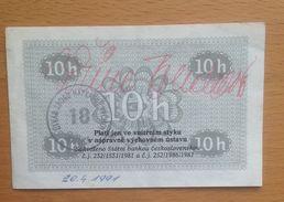 Czechoslovakia Prision Vouchers Valdice 10 Haler  Very Scarce!!! - Tchécoslovaquie