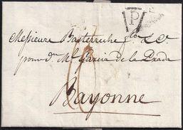 """1809. PARIS POUR BAYONNE. MARQUE POSTALE """"P"""" AU TRIANGLE EN NOIR. TAXE """"10"""" DÉCIMES. TEXTE EN ESPAGNOL. - Autres"""