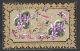 CPA FANTAISIE CELLULOID CELLULOIDE DOREE OR - Art Nouveau Art Déco - Peinte à La Main - Ruban Fleurs - Bonne Année -#553 - Nouvel An