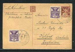 Tchécoslovaquie - Entier Postal + Complément De Trébisov Pour Le Royaume Uni En 1921 - Ref D199 - Entiers Postaux