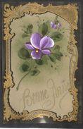 JOLIE CPA FANTAISIE CELLULOID CELLULOIDE DOREE OR - Art Nouveau Art Déco - Peinte à La Main - Fleurs - Bonne Année -#554 - Nouvel An