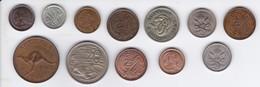 LOTE DE 12 MONEDAS DE AUSTRALIA DE LOS AÑOS 1954 A 1989, - 2 MONEDAS DE PLATA - Australia