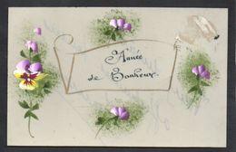 CPA FANTAISIE CELLULOID CELLULOIDE DOREE OR - Art Nouveau Art Déco - Peinte à La Main - Fleurs - Année De Bonheur -#555 - New Year