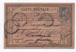 1877 - RARE CARTE PRECURSEUR D'ALBI (TARN) Pour GAILLAC Réexpédiée à CORDES Puis RETOUR A L'ENVOYEUR 1131 ROUGE - 1877-1920: Semi Modern Period