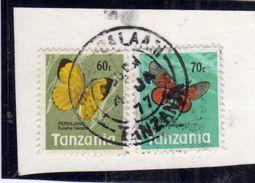 TANZANIA 1973 BUTTERFLIES FARFALLE PAPILLON CENT. 60 + 70c USATI USED OBLITERE' - Tanzania (1964-...)