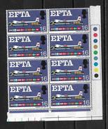 GB QEII 1967 E.F.T.A. 1/6d In MNH Corner Block Of 8 (5741) - 1952-.... (Elizabeth II)