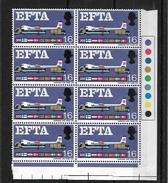 GB QEII 1967 E.F.T.A. 1/6d In MNH Corner Block Of 8 (5743) - 1952-.... (Elizabeth II)