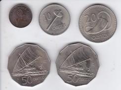 LOTE DE 5 MONEDAS DISTINTAS DE FIJI DE LOS AÑOS 1969 A 1977 - Fiji