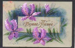 CPA FANTAISIE CELLULOID CELLULOIDE DOREE OR - Art Nouveau Déco - Iris Pourpre - Peinte à La Main - Bonne Année -#558 - Nouvel An