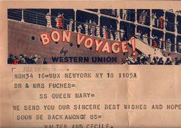 ! New York, Telegramm, Formule Telegraphe Western Union, An Den Schweizer Botschafter Auf Dem Schiff SS Queen Mary, Ship - Schiffe