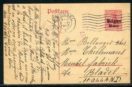 Belgique - Entier Postal De Bruxelles Pour Les Pays Bas En 1917 - Ref D225 - Guerre 14-18