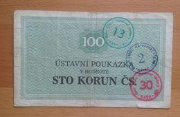 Czechoslovakia Prision Voucher Ilava 100 Kcs - Tchécoslovaquie