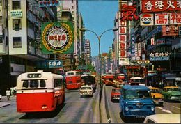 ! 1984 Postcard Autos, Cars, Busses, Nathan Road, Kowloon, Hongkong - China (Hong Kong)