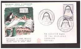 France FDC Resistant Heros Résistance Elise Rivet Mère Elisabeth Emprisonnée , Cachet 22 Avril 1961 Lyon - WW2