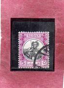 SUDAN SOUDAN 1951 TRIBE SHILLUK TRIBU' WARRIOR GUERRIERO 5 MMS USATO USED OBLITERE' - Sudan (1954-...)
