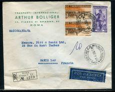 Italie - Enveloppe Commerciale En Recommandé De Rome Pour Paris En 1954 - Ref D250 - 1946-60: Marcophilie