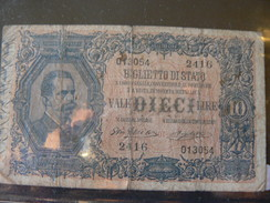 ANCIENT ITALIAN  MONEY OF 10 LIRE ..............////..........ANTICA BANCONOTA DA 10 LIRE........ - [ 1] …-1946 : Kingdom