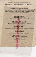 87- EYMOUTIERS-LIMOGES-DOURNAZAC-RARE ELECTIONS LEGISLATIVES 11 MAI 1924-FRAISSEIX-SENELAS J.B-CHASTENET-SOULIER-VINOUR - Documents Historiques