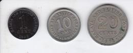 LOTE DE 3 MONEDAS DE MALASIA BRITISH BORNEO DE LOS AÑOS 1961-62 - Malasia