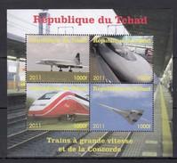 G676 2011 REPUBLIQUE DU TCHAD AVIATION TRAINS CONCORDE GRANDE VITESSE BK MNH - Airplanes
