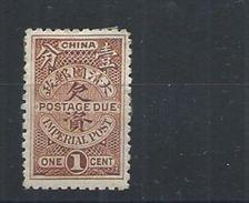 1911 CHINA - POSTAGE DUE 1c 2nd LONDON PRINTING MINT CHAN D15 - China